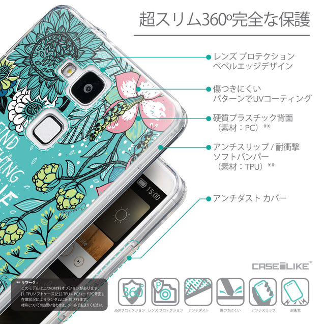 Details in Japanese - CASEiLIKE Huawei Ascend Mate 7 back cover Blooming Flowers Turquoise 2249