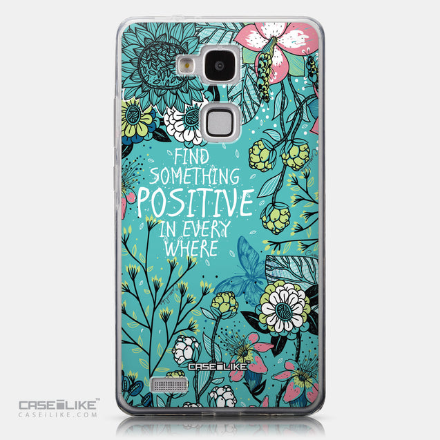 CASEiLIKE Huawei Ascend Mate 7 back cover Blooming Flowers Turquoise 2249