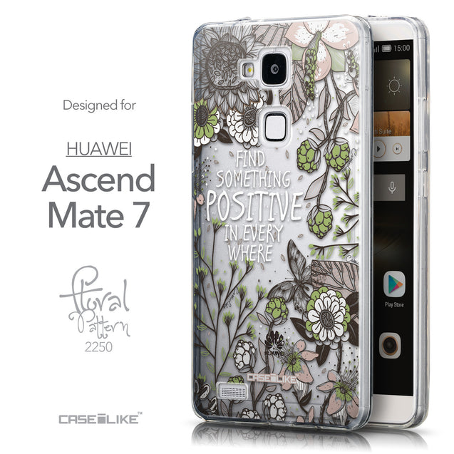 Front & Side View - CASEiLIKE Huawei Ascend Mate 7 back cover Blooming Flowers 2250