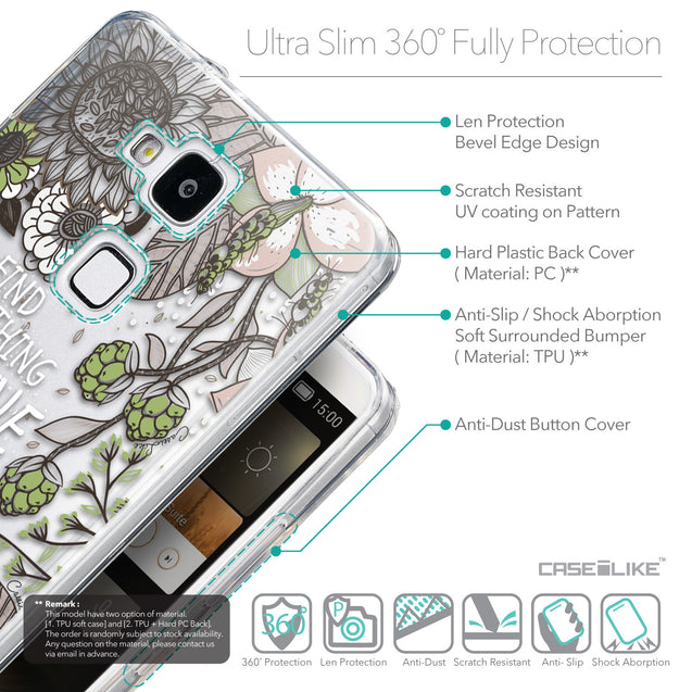Details in English - CASEiLIKE Huawei Ascend Mate 7 back cover Blooming Flowers 2250