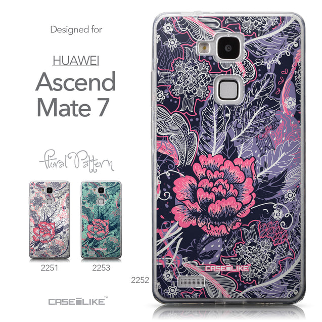 Collection - CASEiLIKE Huawei Ascend Mate 7 back cover Vintage Roses and Feathers Blue 2252