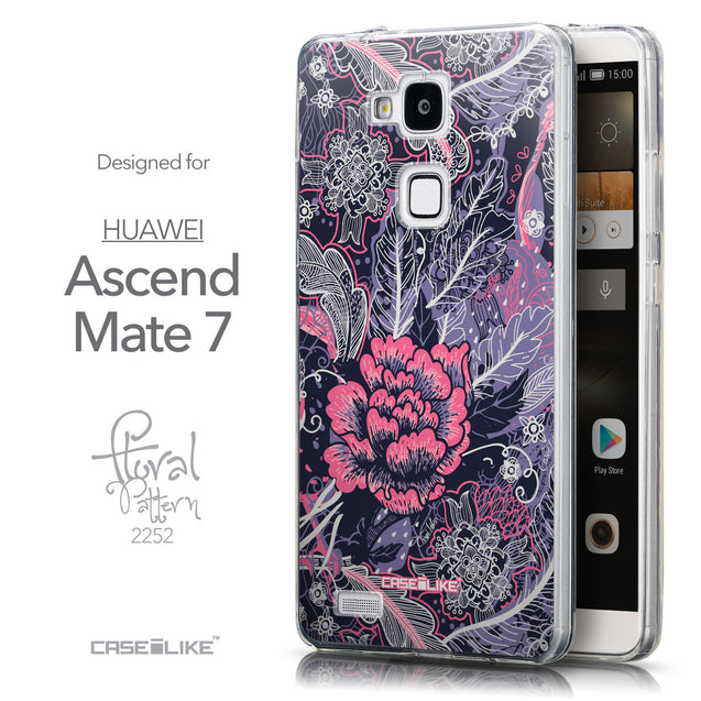 Front & Side View - CASEiLIKE Huawei Ascend Mate 7 back cover Vintage Roses and Feathers Blue 2252