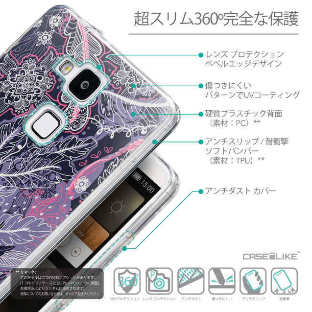 Details in Japanese - CASEiLIKE Huawei Ascend Mate 7 back cover Vintage Roses and Feathers Blue 2252