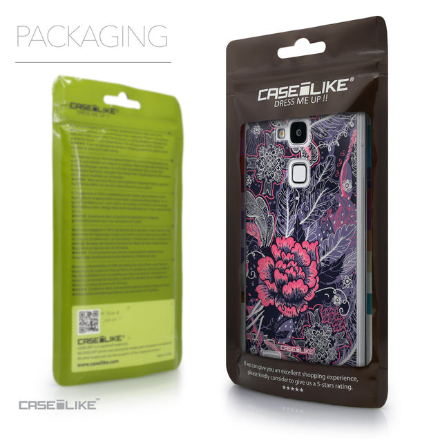 Packaging - CASEiLIKE Huawei Ascend Mate 7 back cover Vintage Roses and Feathers Blue 2252