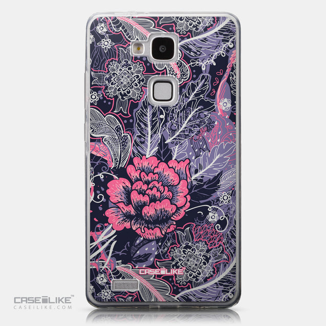 CASEiLIKE Huawei Ascend Mate 7 back cover Vintage Roses and Feathers Blue 2252