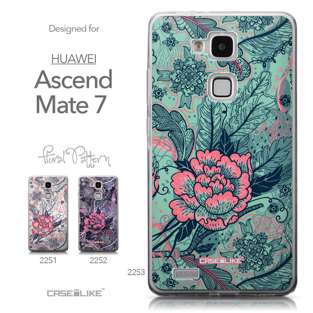 Collection - CASEiLIKE Huawei Ascend Mate 7 back cover Vintage Roses and Feathers Turquoise 2253
