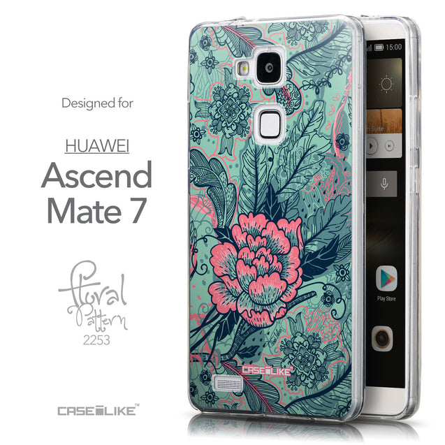 Front & Side View - CASEiLIKE Huawei Ascend Mate 7 back cover Vintage Roses and Feathers Turquoise 2253