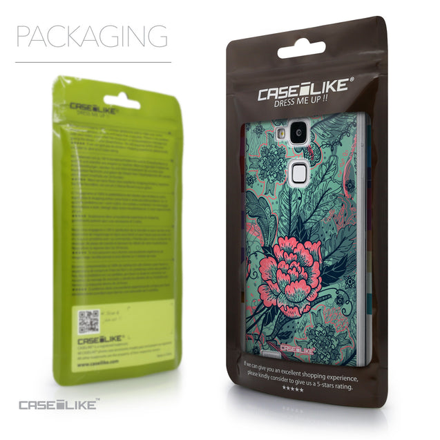 Packaging - CASEiLIKE Huawei Ascend Mate 7 back cover Vintage Roses and Feathers Turquoise 2253