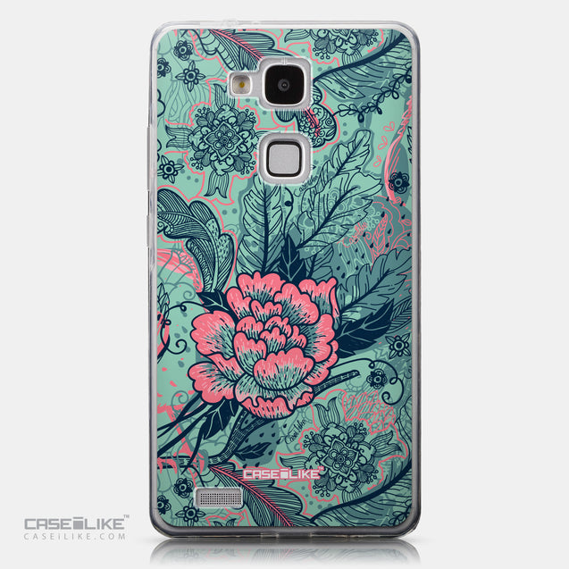 CASEiLIKE Huawei Ascend Mate 7 back cover Vintage Roses and Feathers Turquoise 2253