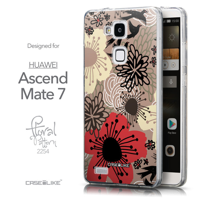 Front & Side View - CASEiLIKE Huawei Ascend Mate 7 back cover Japanese Floral 2254