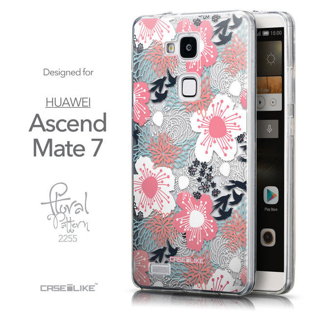 Front & Side View - CASEiLIKE Huawei Ascend Mate 7 back cover Japanese Floral 2255