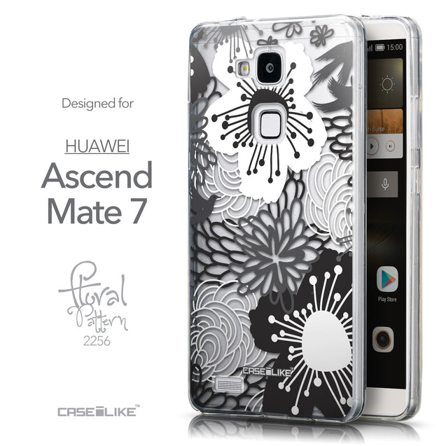 Front & Side View - CASEiLIKE Huawei Ascend Mate 7 back cover Japanese Floral 2256