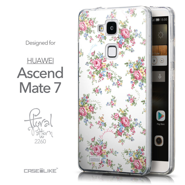 Front & Side View - CASEiLIKE Huawei Ascend Mate 7 back cover Floral Rose Classic 2260