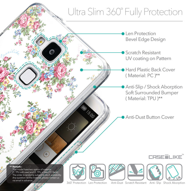 Details in English - CASEiLIKE Huawei Ascend Mate 7 back cover Floral Rose Classic 2260