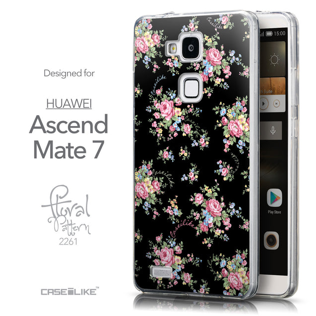 Front & Side View - CASEiLIKE Huawei Ascend Mate 7 back cover Floral Rose Classic 2261