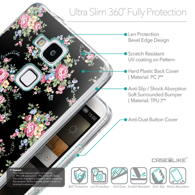 Details in English - CASEiLIKE Huawei Ascend Mate 7 back cover Floral Rose Classic 2261