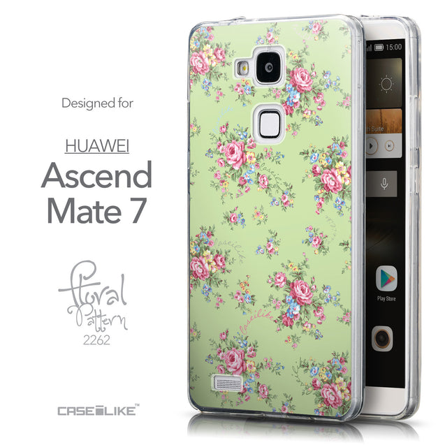 Front & Side View - CASEiLIKE Huawei Ascend Mate 7 back cover Floral Rose Classic 2262