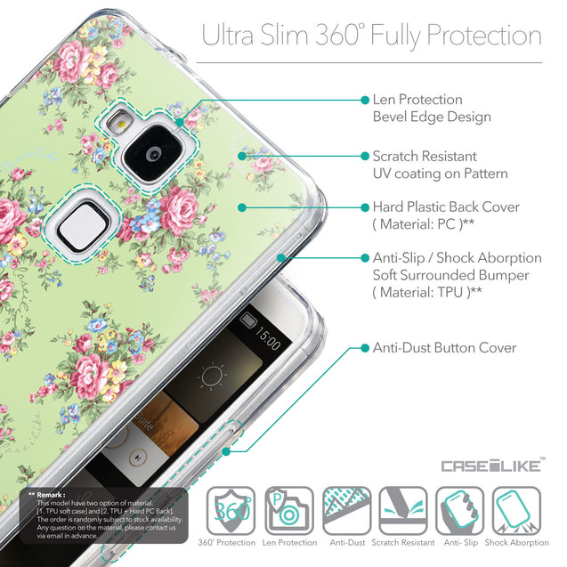 Details in English - CASEiLIKE Huawei Ascend Mate 7 back cover Floral Rose Classic 2262
