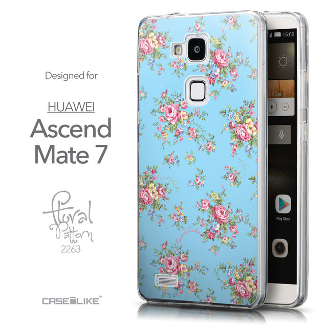 Front & Side View - CASEiLIKE Huawei Ascend Mate 7 back cover Floral Rose Classic 2263