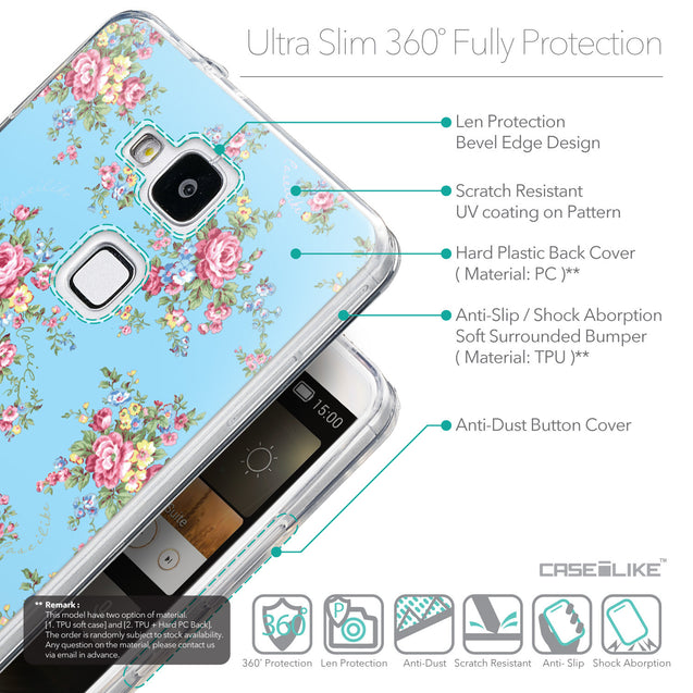 Details in English - CASEiLIKE Huawei Ascend Mate 7 back cover Floral Rose Classic 2263