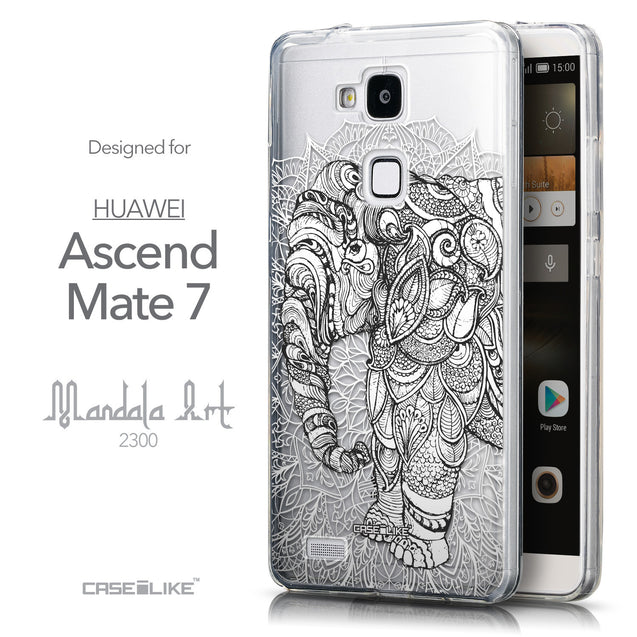 Front & Side View - CASEiLIKE Huawei Ascend Mate 7 back cover Mandala Art 2300