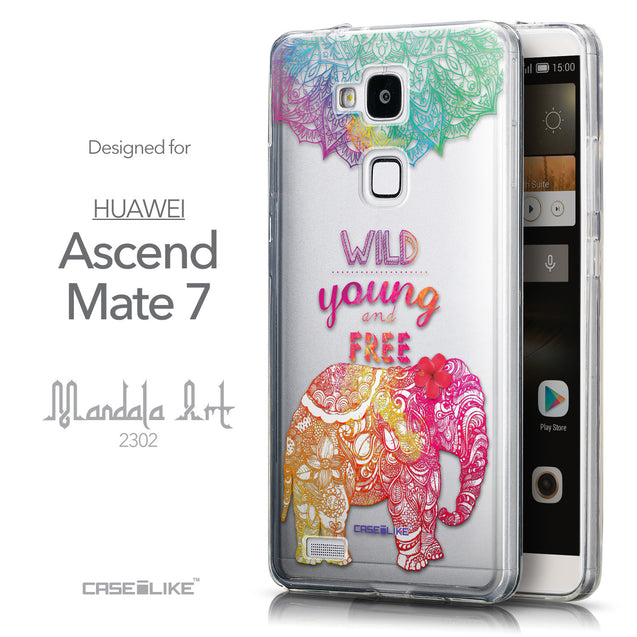 Front & Side View - CASEiLIKE Huawei Ascend Mate 7 back cover Mandala Art 2302