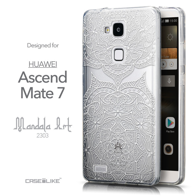 Front & Side View - CASEiLIKE Huawei Ascend Mate 7 back cover Mandala Art 2303