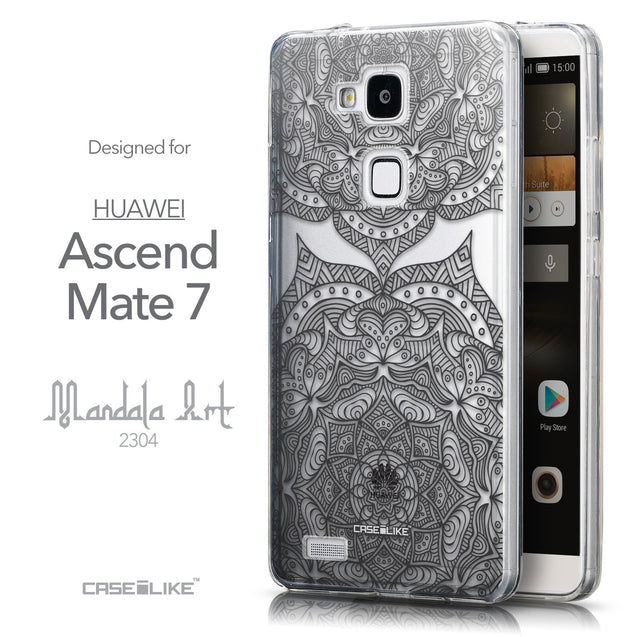 Front & Side View - CASEiLIKE Huawei Ascend Mate 7 back cover Mandala Art 2304