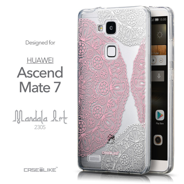Front & Side View - CASEiLIKE Huawei Ascend Mate 7 back cover Mandala Art 2305