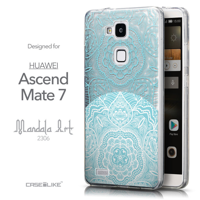 Front & Side View - CASEiLIKE Huawei Ascend Mate 7 back cover Mandala Art 2306