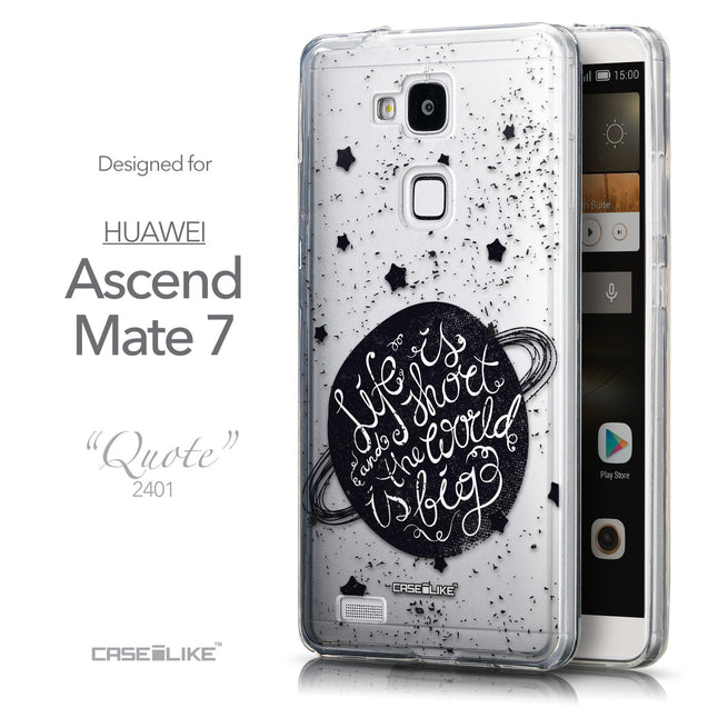 Front & Side View - CASEiLIKE Huawei Ascend Mate 7 back cover Quote 2401