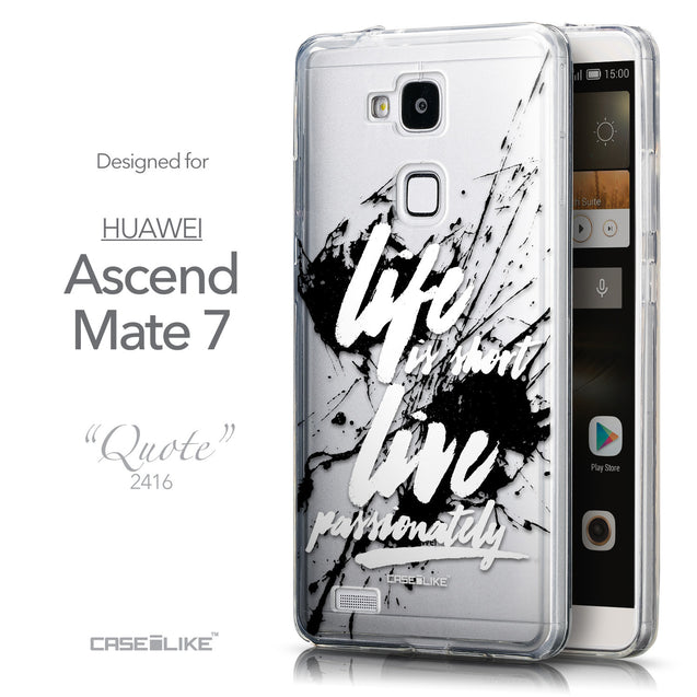 Front & Side View - CASEiLIKE Huawei Ascend Mate 7 back cover Quote 2416