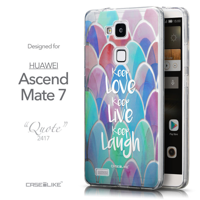 Front & Side View - CASEiLIKE Huawei Ascend Mate 7 back cover Quote 2417