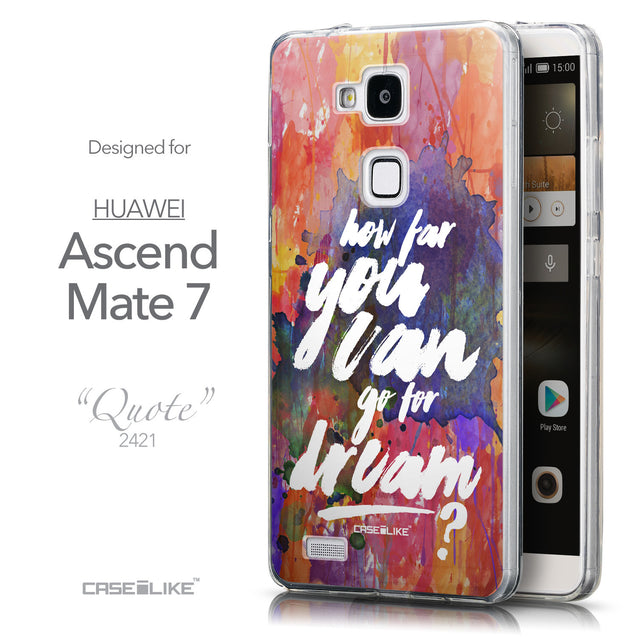 Front & Side View - CASEiLIKE Huawei Ascend Mate 7 back cover Quote 2421
