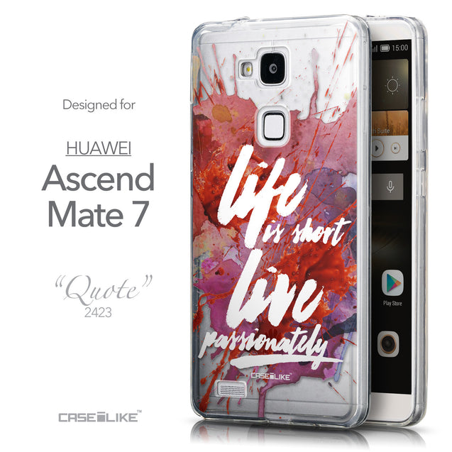 Front & Side View - CASEiLIKE Huawei Ascend Mate 7 back cover Quote 2423
