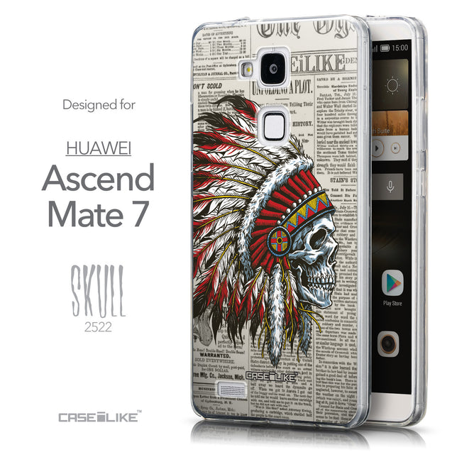 Front & Side View - CASEiLIKE Huawei Ascend Mate 7 back cover Art of Skull 2522