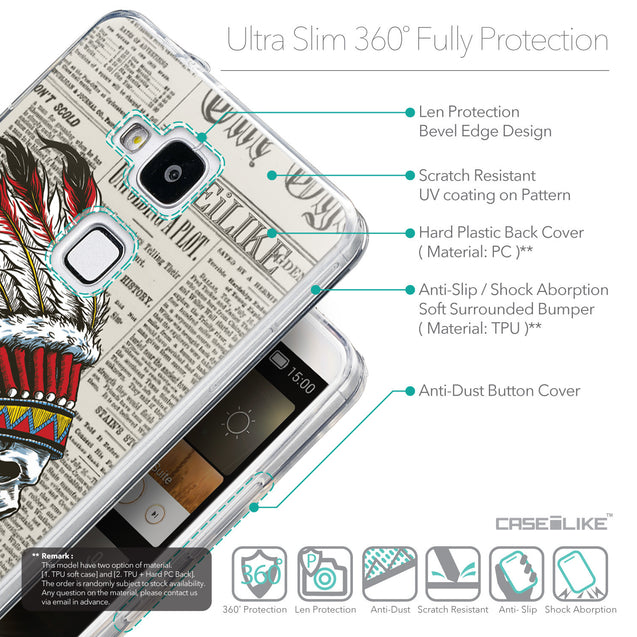 Details in English - CASEiLIKE Huawei Ascend Mate 7 back cover Art of Skull 2522