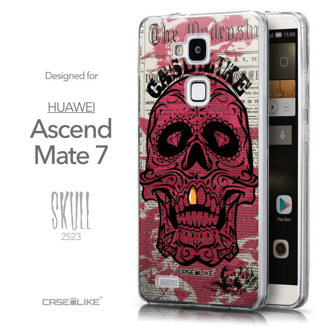 Front & Side View - CASEiLIKE Huawei Ascend Mate 7 back cover Art of Skull 2523