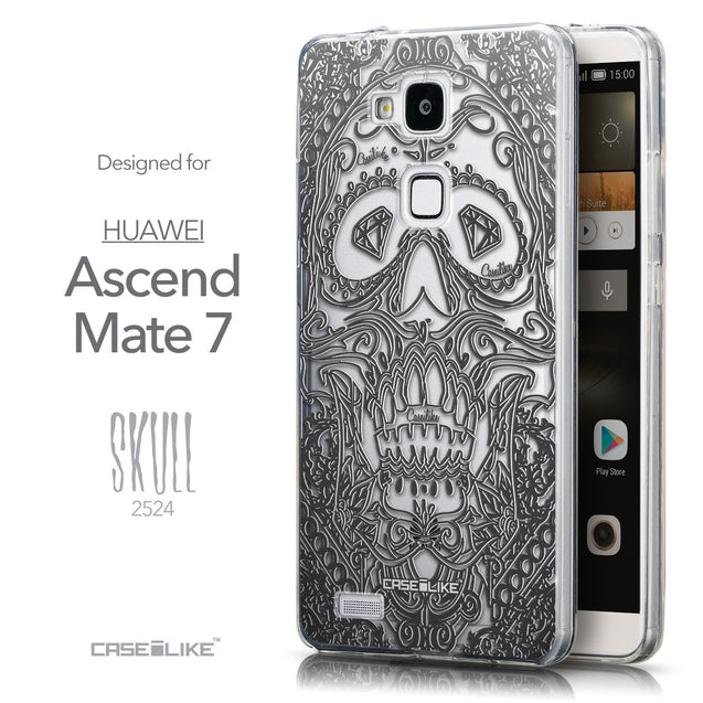 Front & Side View - CASEiLIKE Huawei Ascend Mate 7 back cover Art of Skull 2524