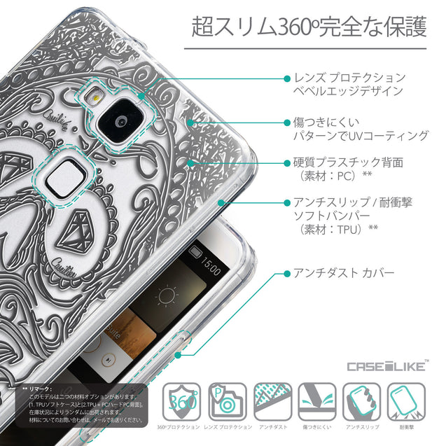 Details in Japanese - CASEiLIKE Huawei Ascend Mate 7 back cover Art of Skull 2524