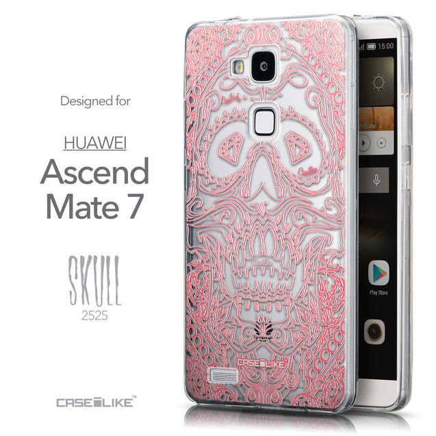Front & Side View - CASEiLIKE Huawei Ascend Mate 7 back cover Art of Skull 2525