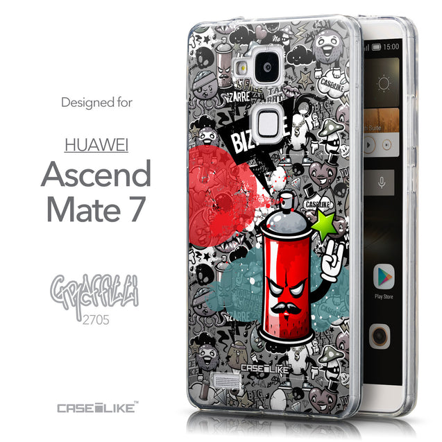 Front & Side View - CASEiLIKE Huawei Ascend Mate 7 back cover Graffiti 2705