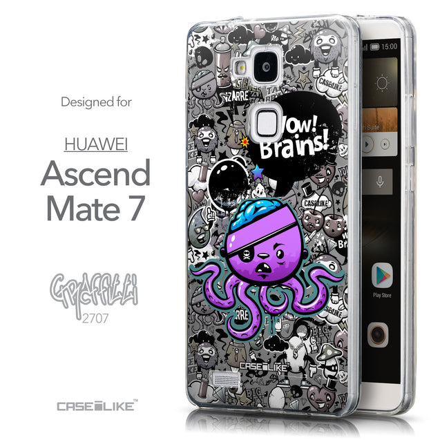 Front & Side View - CASEiLIKE Huawei Ascend Mate 7 back cover Graffiti 2707