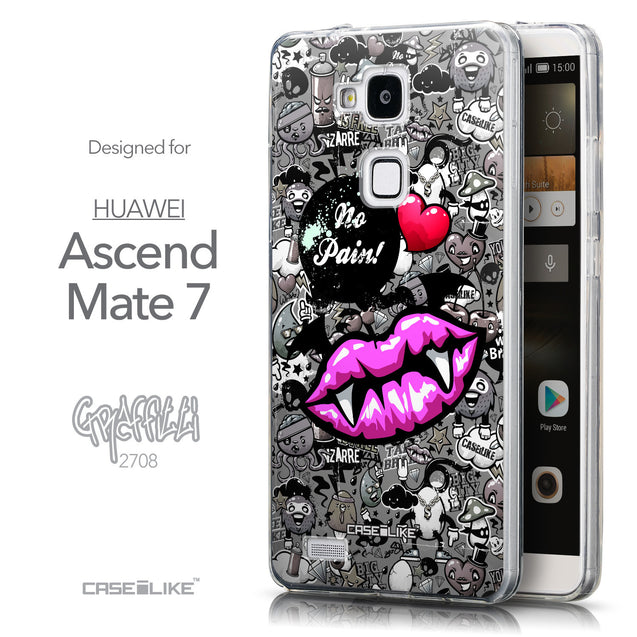 Front & Side View - CASEiLIKE Huawei Ascend Mate 7 back cover Graffiti 2708