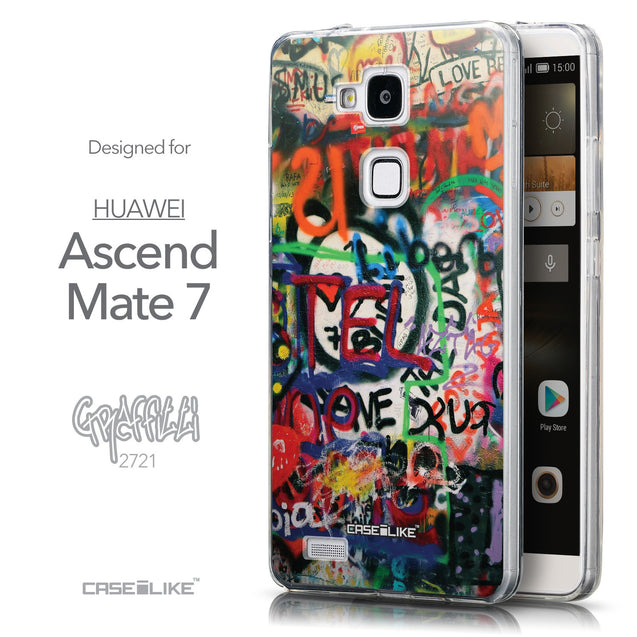 Front & Side View - CASEiLIKE Huawei Ascend Mate 7 back cover Graffiti 2721