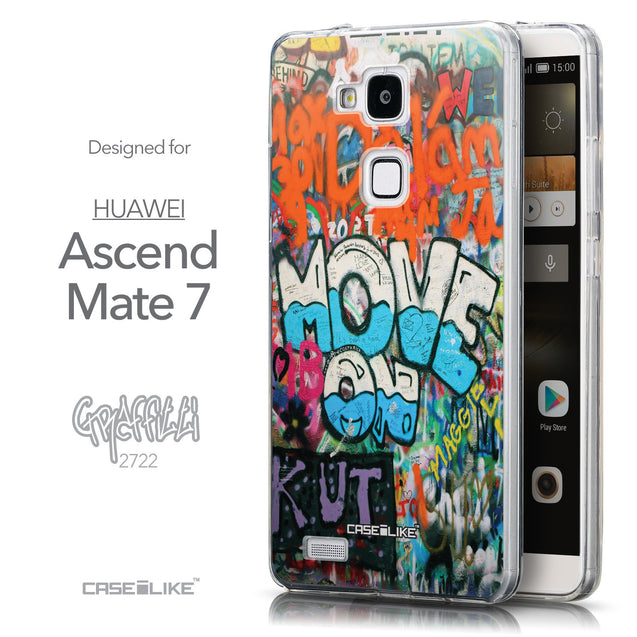 Front & Side View - CASEiLIKE Huawei Ascend Mate 7 back cover Graffiti 2722
