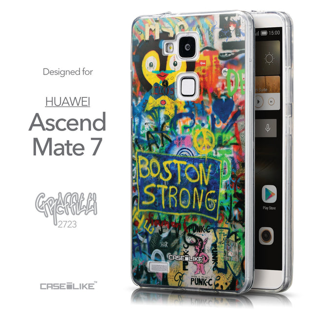 Front & Side View - CASEiLIKE Huawei Ascend Mate 7 back cover Graffiti 2723