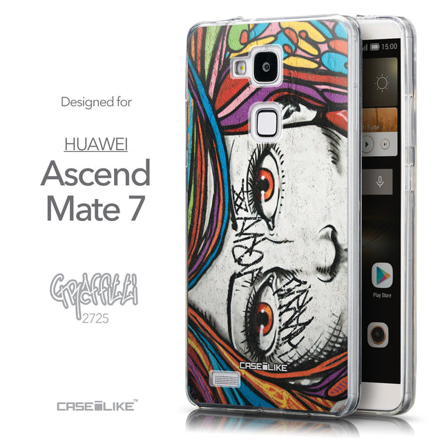 Front & Side View - CASEiLIKE Huawei Ascend Mate 7 back cover Graffiti Girl 2725