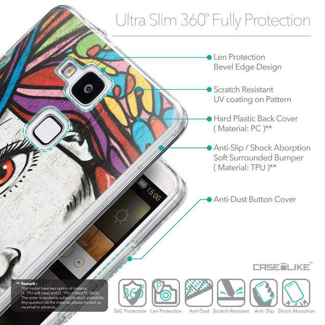 Details in English - CASEiLIKE Huawei Ascend Mate 7 back cover Graffiti Girl 2725