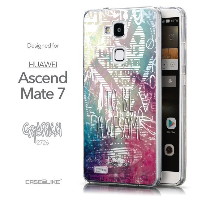Front & Side View - CASEiLIKE Huawei Ascend Mate 7 back cover Graffiti 2726